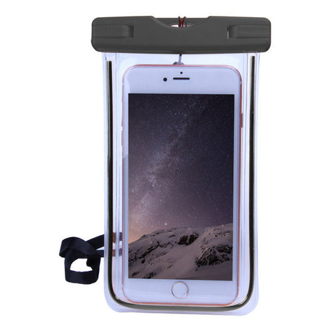 "Black Waterproof 5.9"" Smartphone Pouch with an iphone inside"