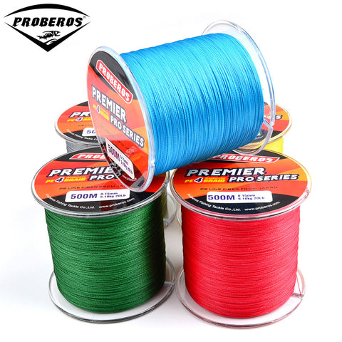 5 Different Colored PROBEROS Premier Pro 435S Braid Line stacked