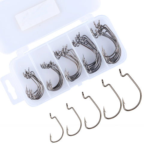 GOTURE Offset Worm Hooks (#2 #1 #1/0 #2/0 #3/0) - 50 Pack