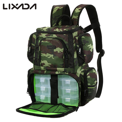 Lixada Fishing Reel lure Bag Backpack Fishing Lures Bait Box Storage Bag with 4 Fishing Tackle Box for Pesca