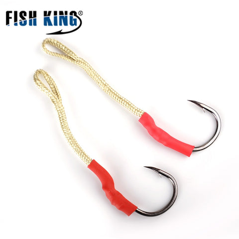 FISH KING 120Lbs High Carbon Steel Silver Double Jigging Assist Hooks