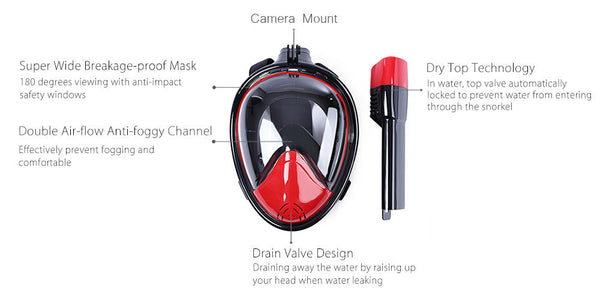 INNOVATIVE FULL FACE SNORKEL MASK W/ GOPRO MOUNT | Go Outside & Play