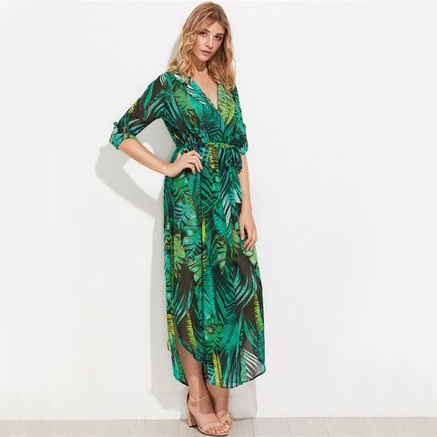 245c600a26bf Green Palm Leaf Wrap Maxi Dress – Sol Playero