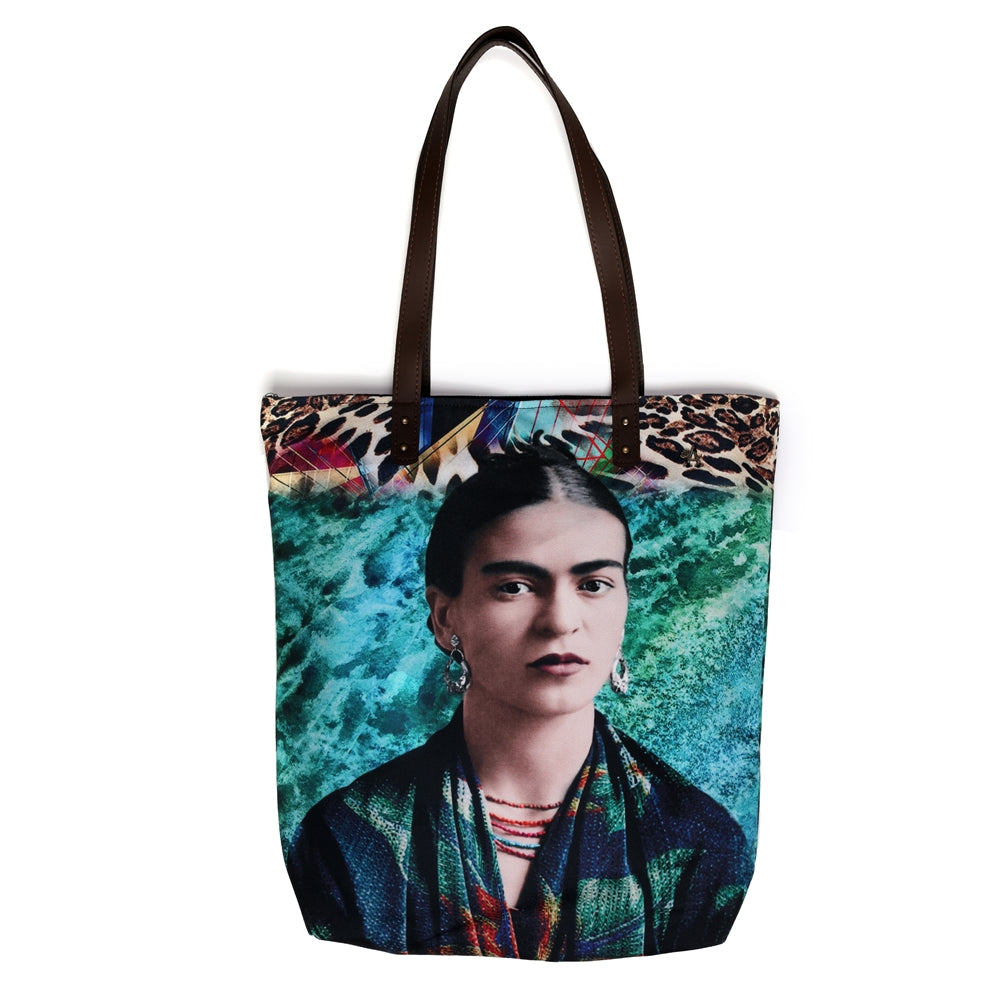 Akitai Young Frida Kahlo Ocean Green Printed Canvas Women Shoulder Bag Tote Purse