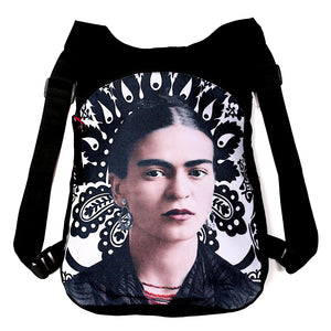 Akitai Young Frida Kahlo Portrait Black & White Canvas Backpack Purse Women Handbag