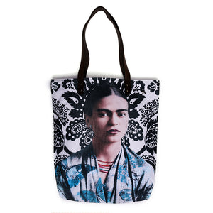 Akitai Young Frida Kahlo Black and Blue Canvas Pailsey Print Tote Shoulder Bag Women Purse