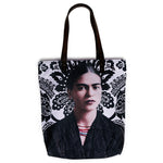 Akitai Young Frida Kahlo Black and White Canvas Pailsey Print Tote Shoulder Bag Women Purse