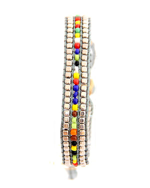 Colourful Grey Macrame Bracelet