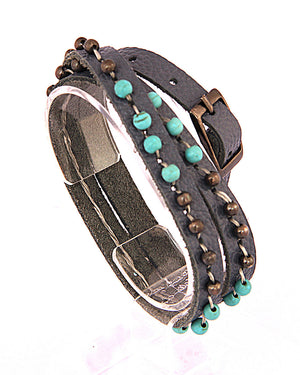 Leather Wrap Bracelet Gray