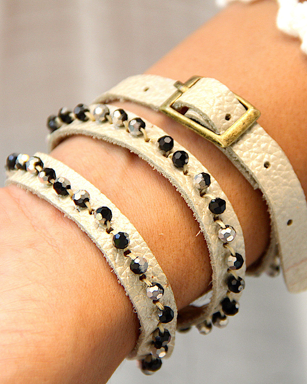 Leather Wrap Bracelet Cream