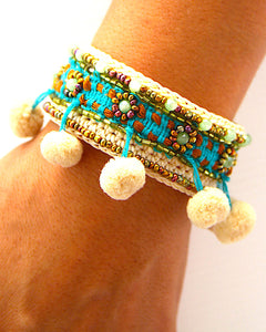 Lanna Pom Pom Cream Bangle