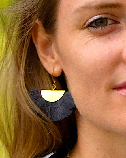 Black Tassel Half-Moon Earrings