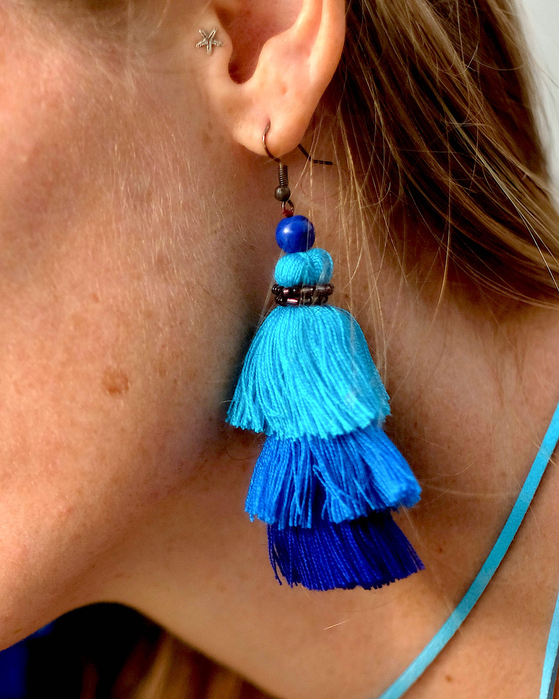Blue Layered Cotton Tassel Earrings