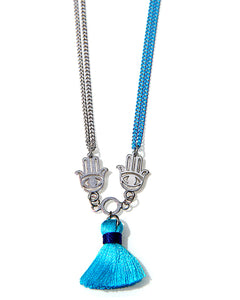 Blue Mini Tassel Necklace