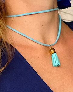 Blue Mini Tassel Choker