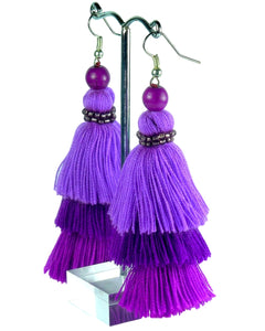 Purple Layered Cotton Tassel Earrings