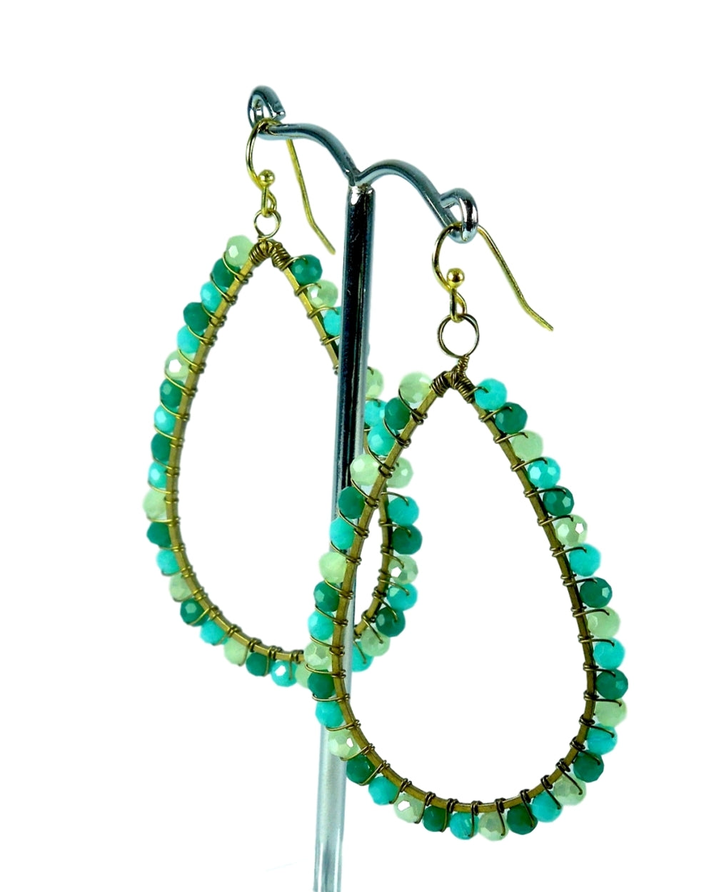 Aqua Brass Earrings