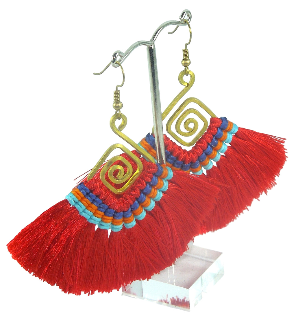 Coral Half Moon Tassel Earrings