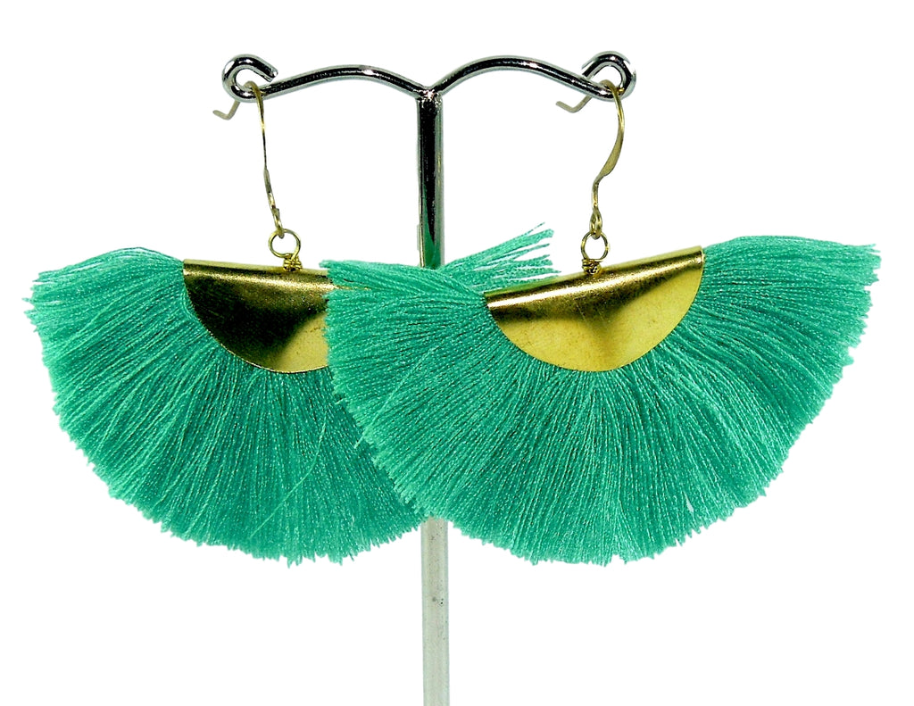 Aquamarine Half-Moon Tassels Earrings