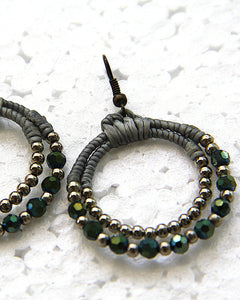 Double Loop Macrame Green Earrings