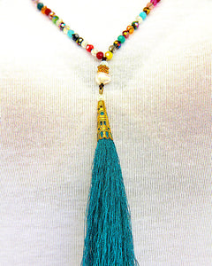 Emerald Tassel Pearl Necklace