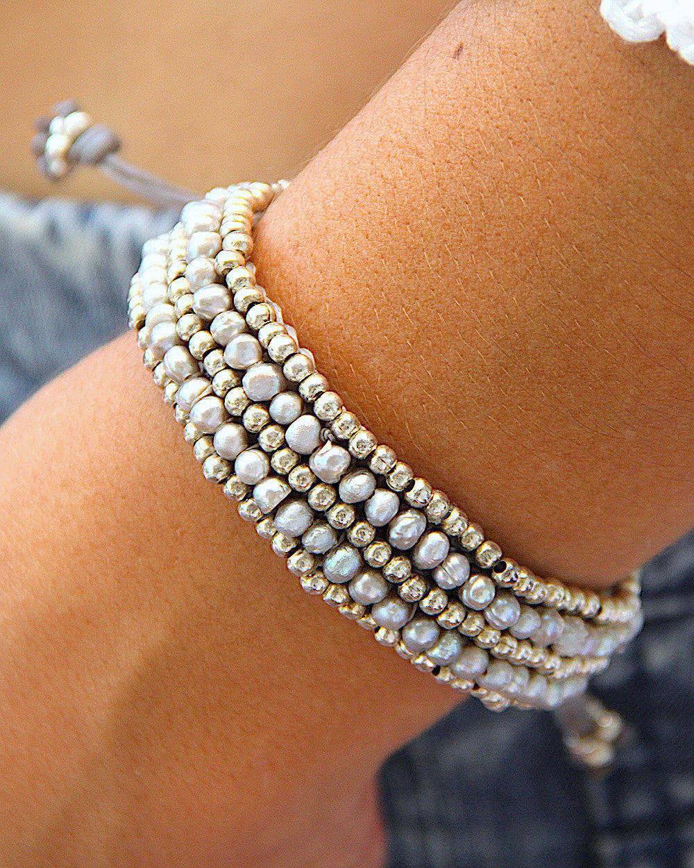 Grey Pearls Adjustable Bracelet
