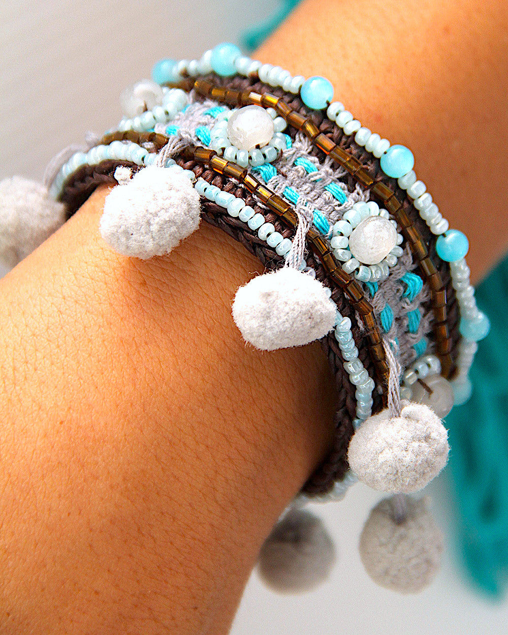 Lanna Grey Pompom Bangle
