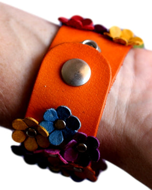 Colorful Daisies Leather Cuff Bracelet