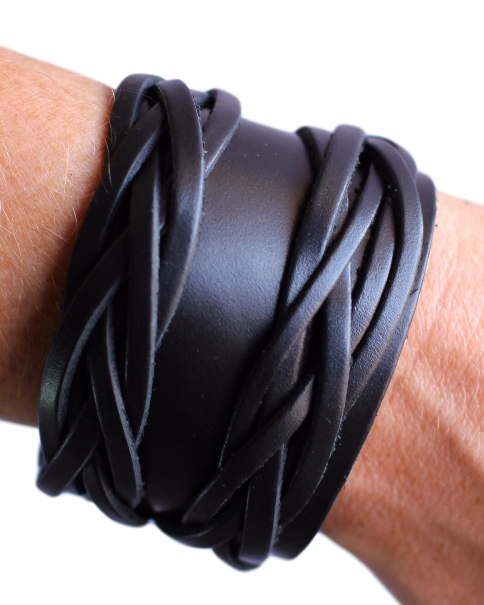 Black leather braided bracelet