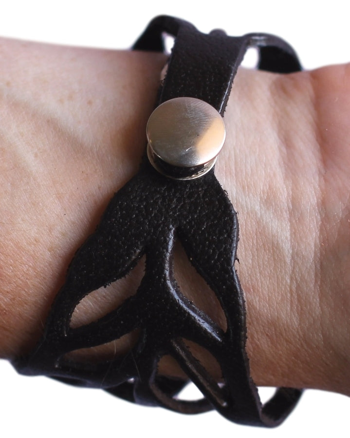 Black Leather Leaf Bracelet