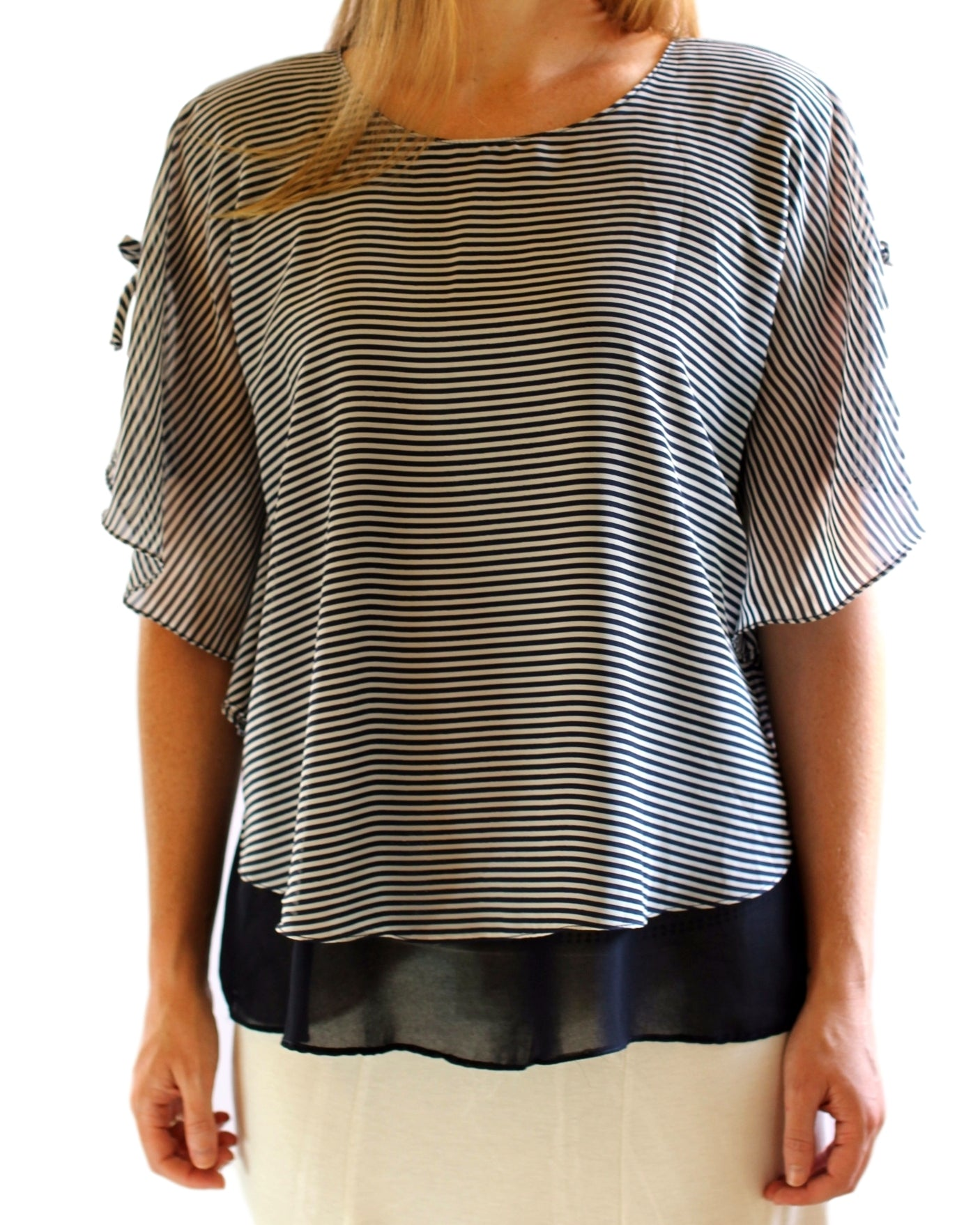 Chiffon with Stripes Ruana Style Blouse