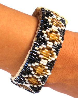 Macrame Golden Rombus Beaded Bracelet