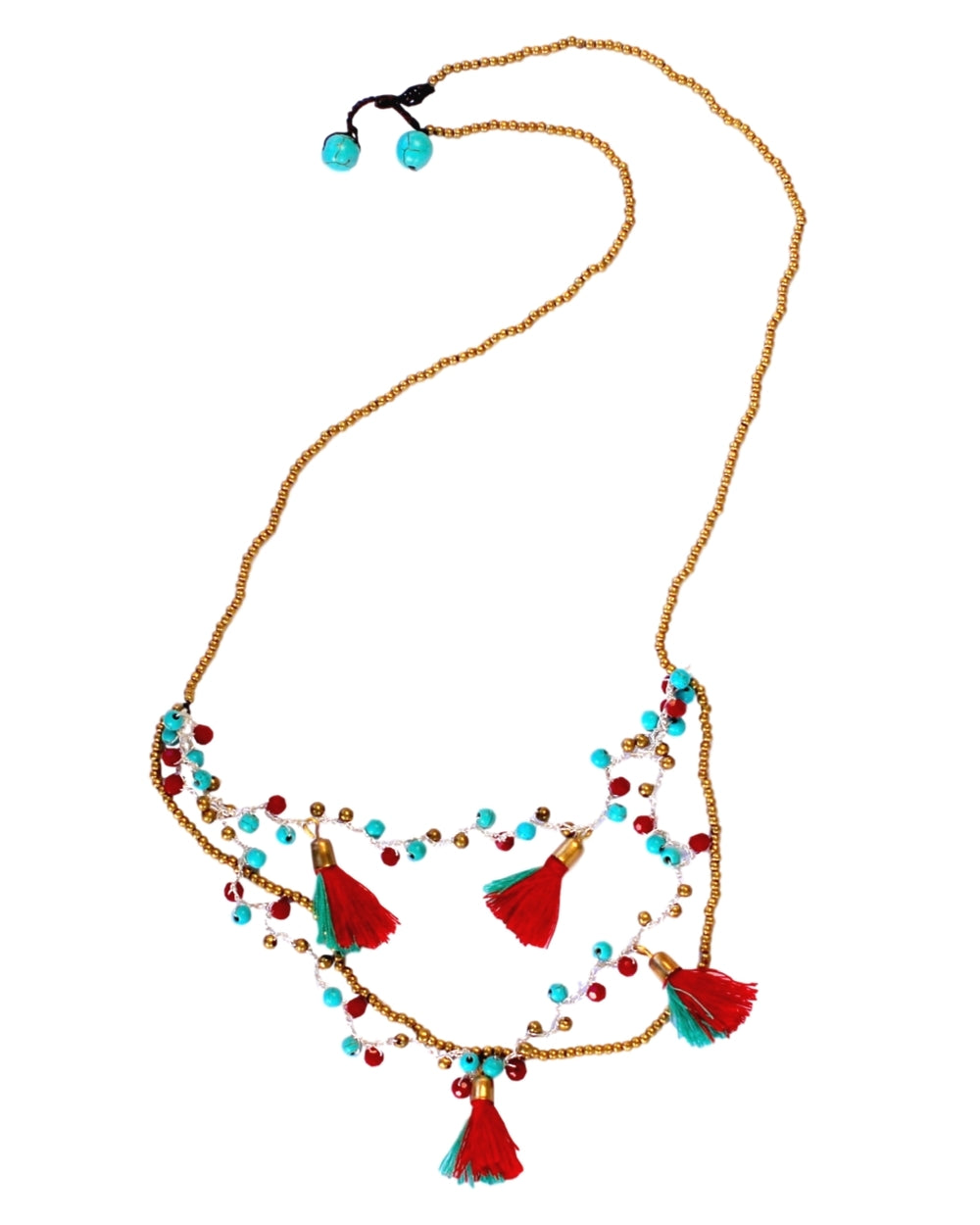 Turquoise Red Tassels and Beads Necklace