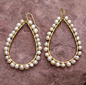 Pearl Brass Earrings