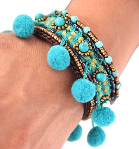 Lanna Pompom Blue Bangle
