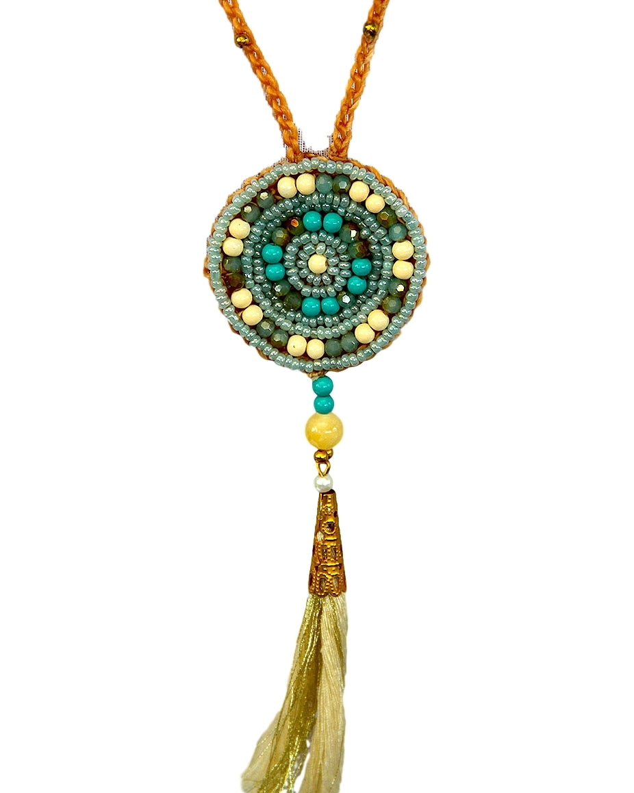 Gold and Blue Round Macrame Necklace