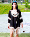 Black and White Birds Eye Kaftan