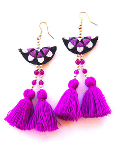 Hmong Purple Tassel Earrings