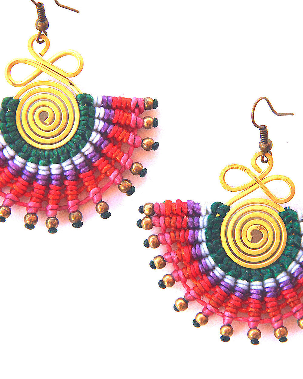Shambala Half-Moon Brass Wiring Earrings