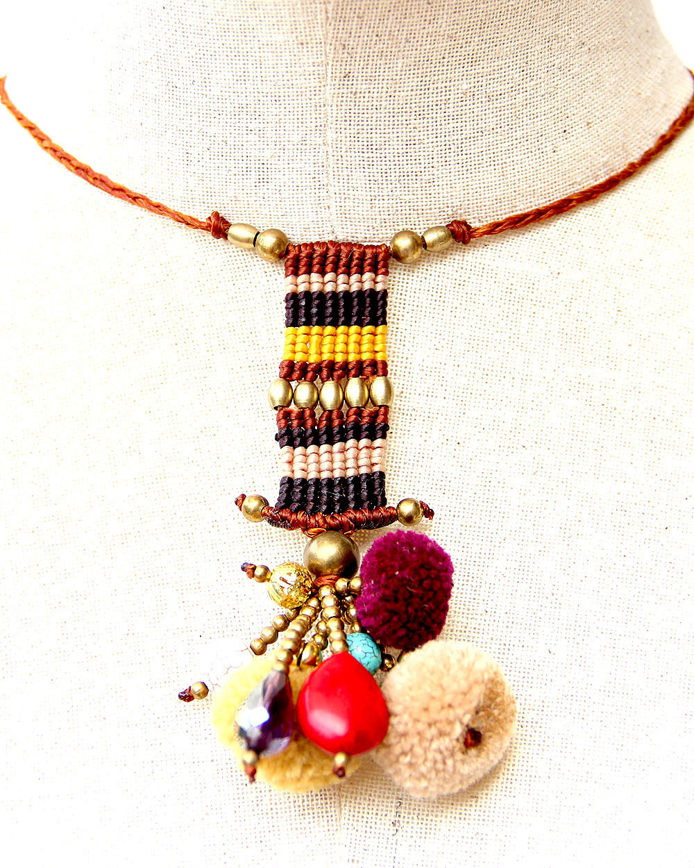 Nema Pom Pom Beaded Tribal Adjustable Necklace