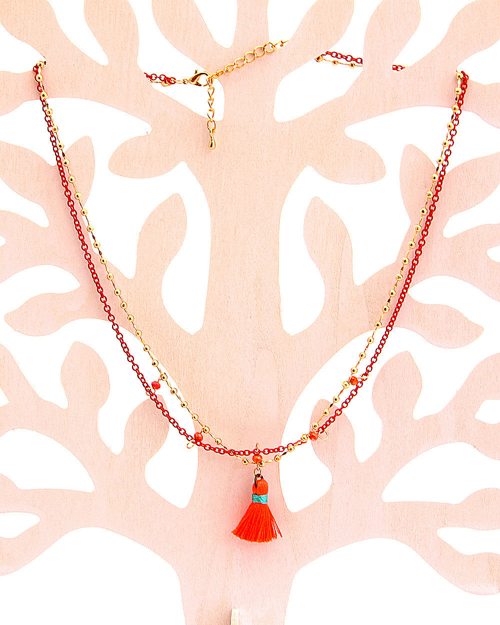 Istambul Orange Tassel Necklace