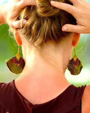 Olive Green Tassel Earrings