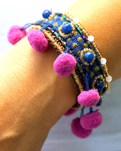 Lanna Purple Pompom Bangle