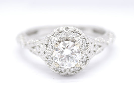 Vintage Style Engagement Ring with Beaded Filigree