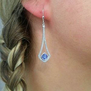 blue cubic zirconia earrings sterling silver