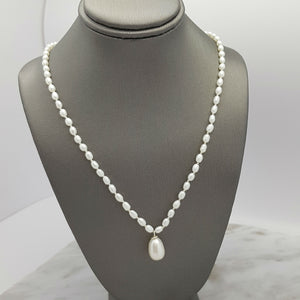 Pearl Strand with Pearl Dangle Necklace