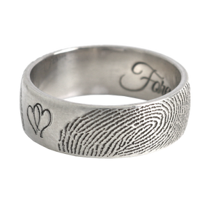 2 Fingerprints and Hearts Custom Ring Band