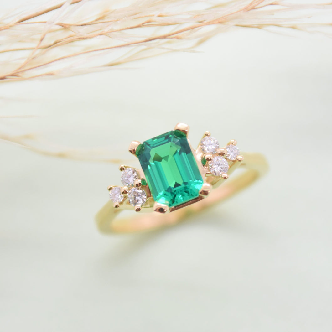 Chatham Emerald Diamond Ring