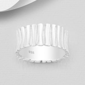 bamboo pattern silver ring