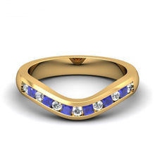blue sapphire curved wedding band